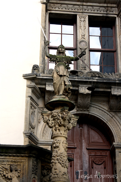 Statue of Justitia on Rathaustreppe stairs to town hall in Görlitz