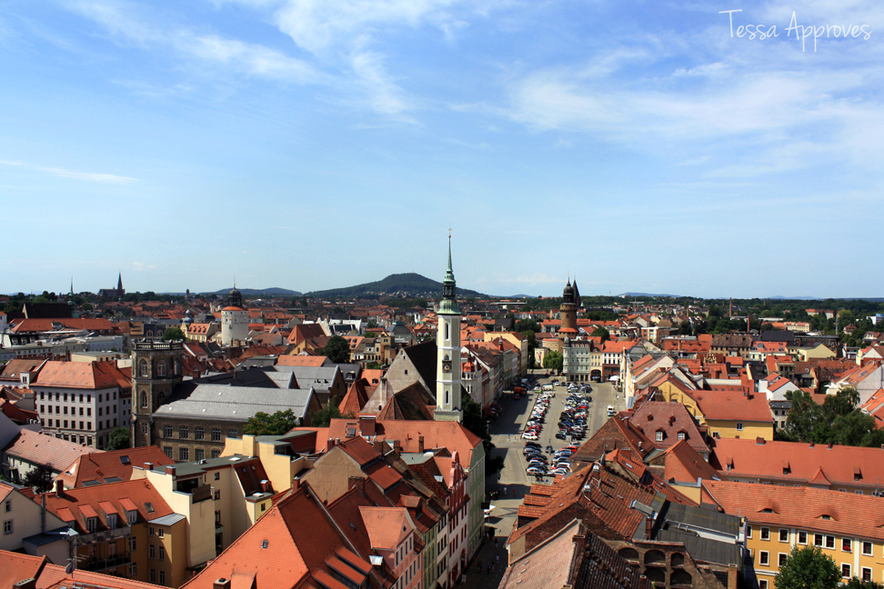 View from the Rathausturm town hall tower in Görlitz of the Obermarkt and Landeskrone