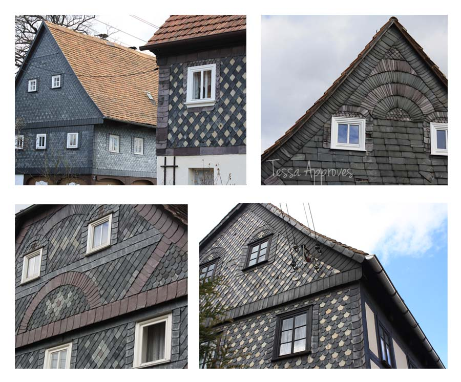 slate tiles on houses in Großschönau Germany Schiefer