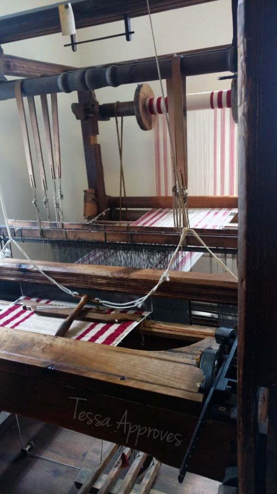 old textile loom at the museum in Großschönau